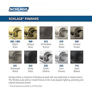 Schlage F170-CLT-BRK-LH F-Series Single Dummy Callington Door Lever for Left Hand Doors