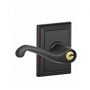 Schlage F51FLA716ADD F-Series Keyed Entry Flair Door Leverset